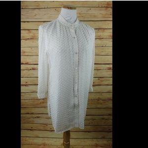 J. McLaughlin White Silk Swiss Dot Tunic Blouse